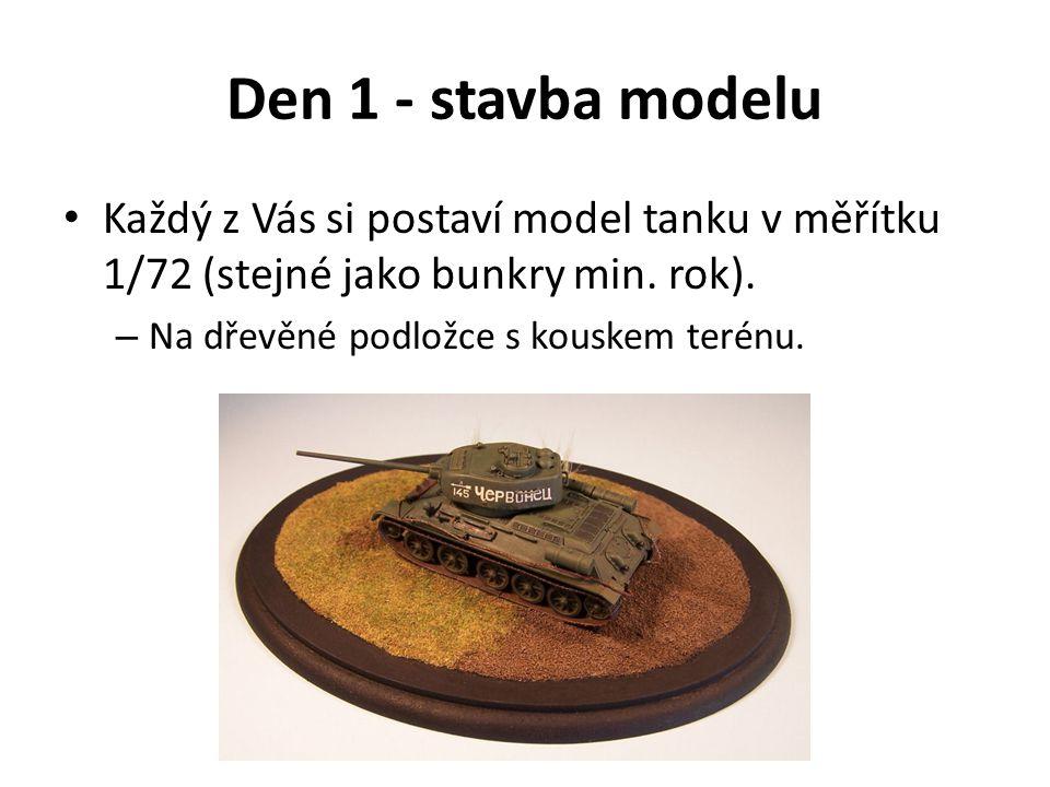 Den 1 - stavba modelu Každý z Vás si postaví model tanku v měřítku 1/72 (stejné jako bunkry min. rok).