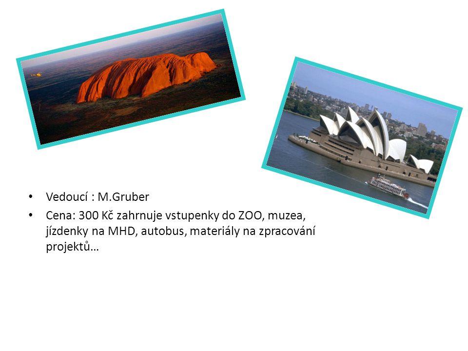 Vedoucí : M.Gruber Cena: 300 Kč zahrnuje vstupenky do ZOO, muzea, jízdenky na MHD, autobus, materiály na zpracování projektů…