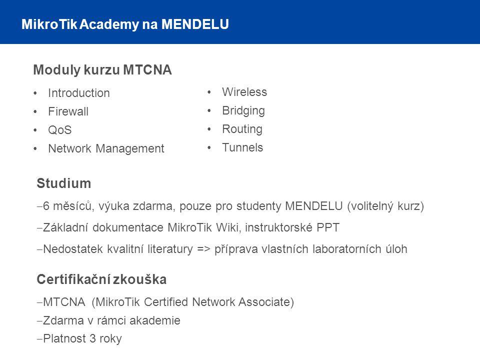 MikroTik Academy na MENDELU