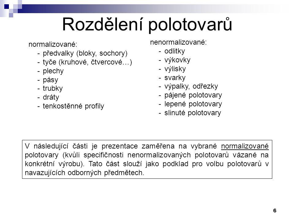 Rozdělení polotovarů nenormalizované: normalizované: odlitky