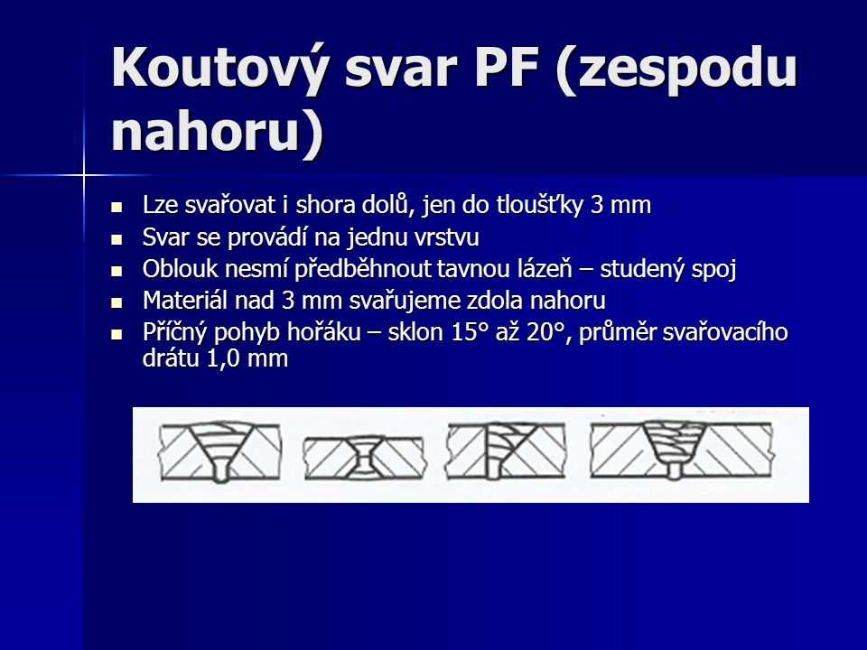 Koutový svar PF (zespodu nahoru)