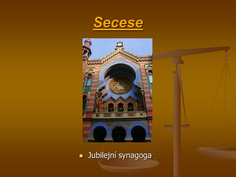 Secese Jubilejní synagoga