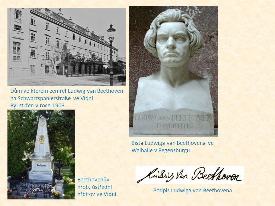 Dům ve kterém zemřel Ludwig van Beethoven na Schwarzspanierstraße ve Vídni. Byl stržen v roce 1903.