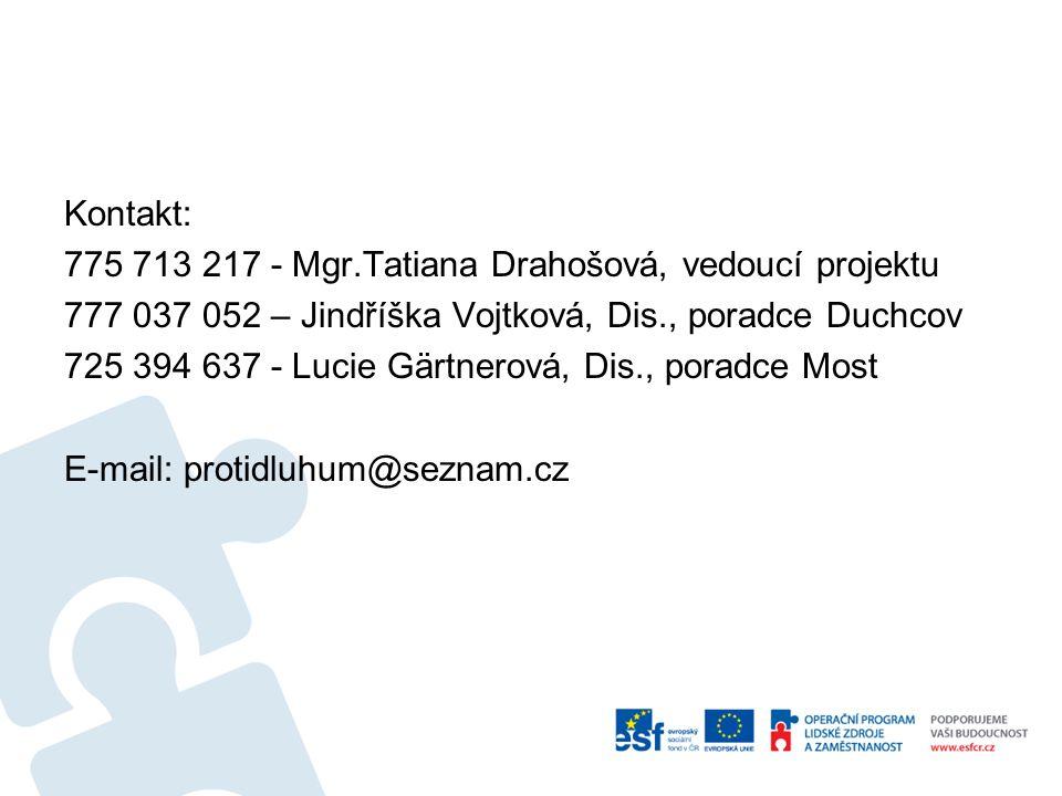Kontakt: 775 713 217 - Mgr.Tatiana Drahošová, vedoucí projektu. 777 037 052 – Jindříška Vojtková, Dis., poradce Duchcov.