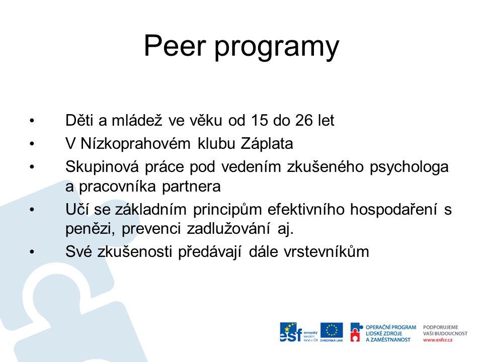 Peer programy Děti a mládež ve věku od 15 do 26 let