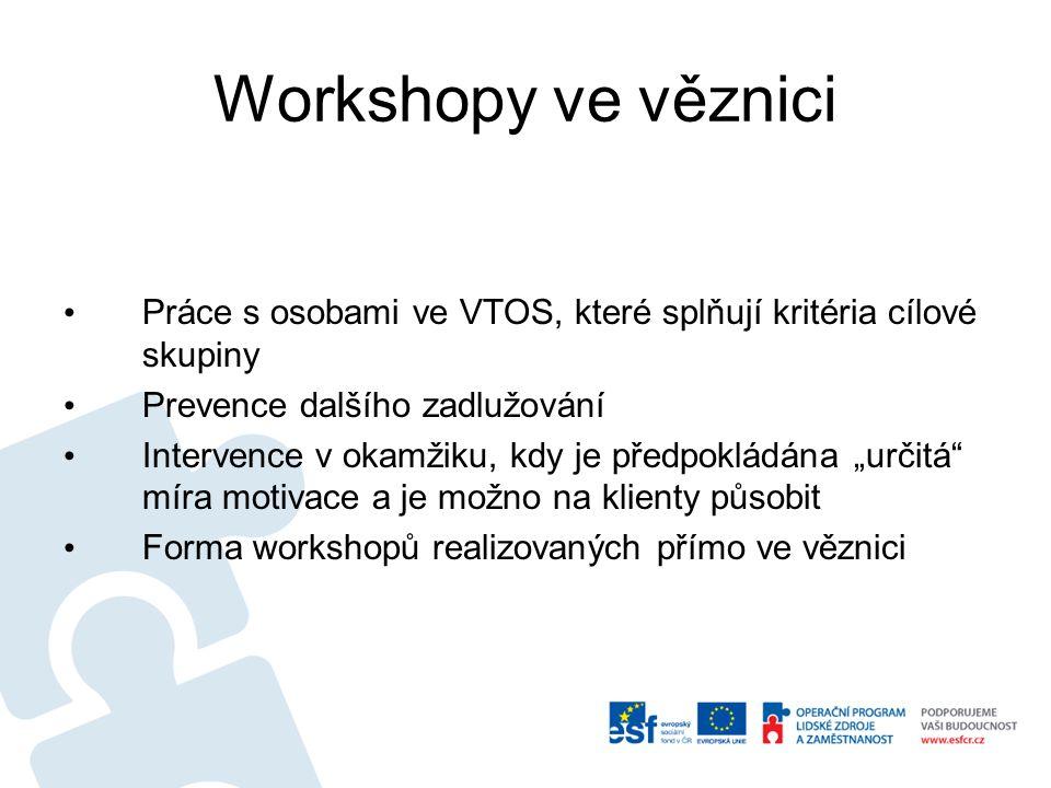 Workshopy ve věznici Práce s osobami ve VTOS, které splňují kritéria cílové skupiny. Prevence dalšího zadlužování.