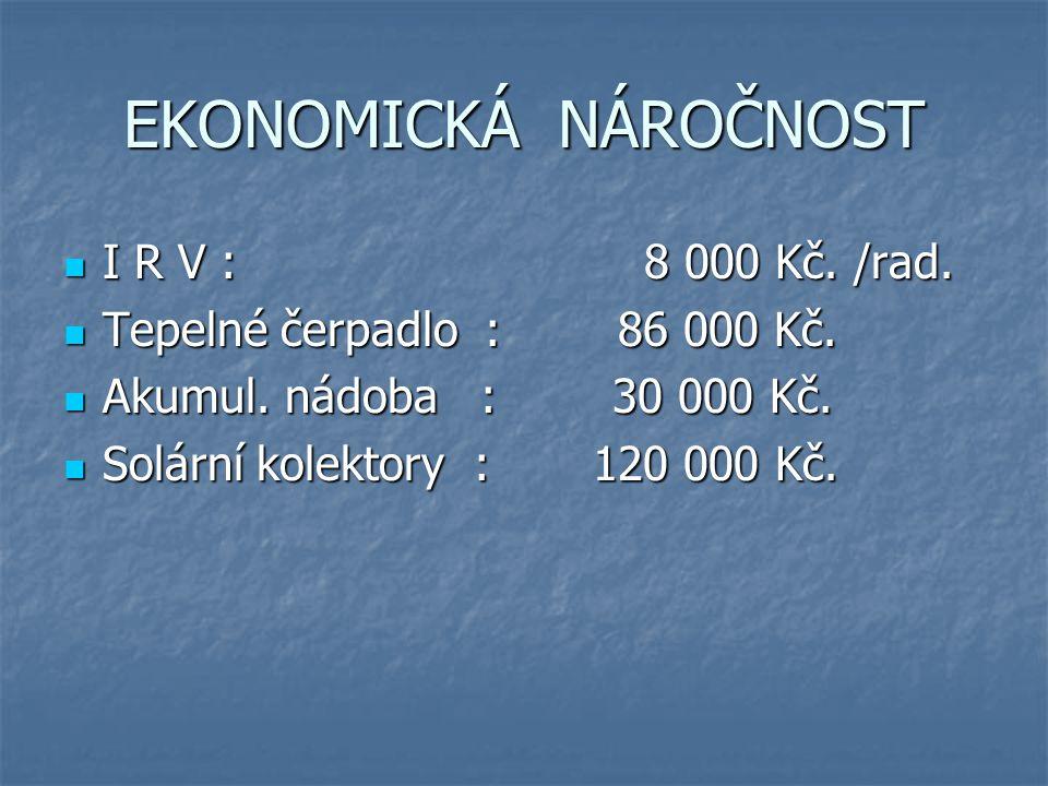 EKONOMICKÁ NÁROČNOST I R V : 8 000 Kč. /rad.