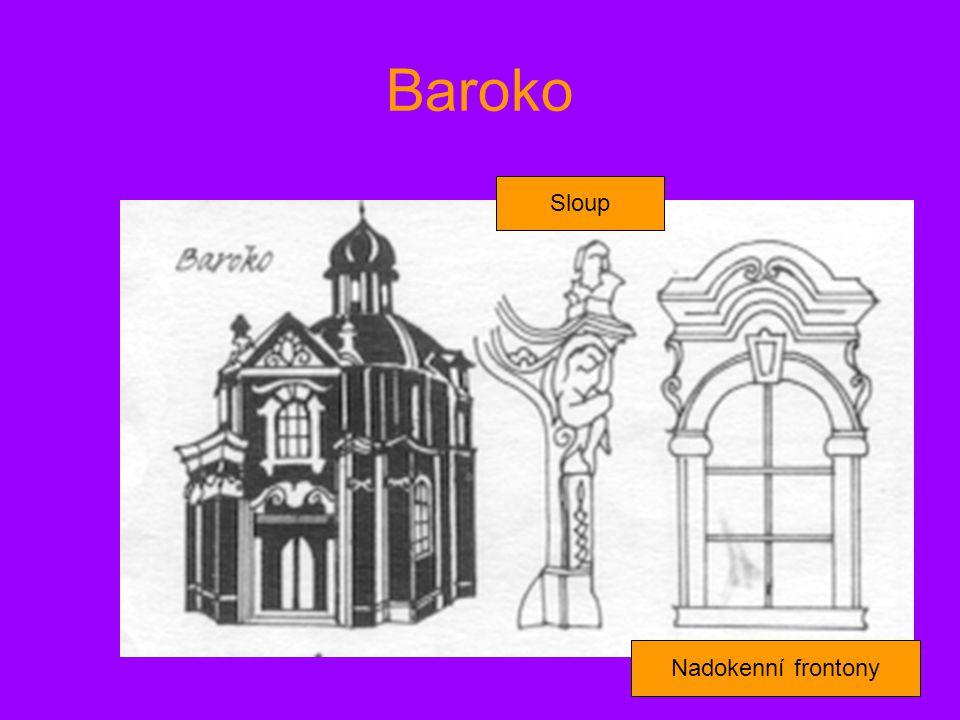 Baroko Sloup Nadokenní frontony