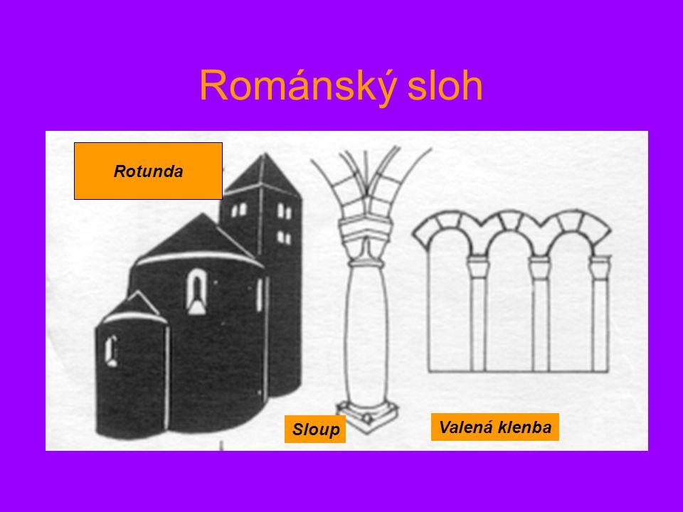 Románský sloh Rotunda Sloup Valená klenba