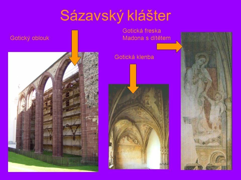 Sázavský klášter Gotická freska Madona s dítětem Gotický oblouk