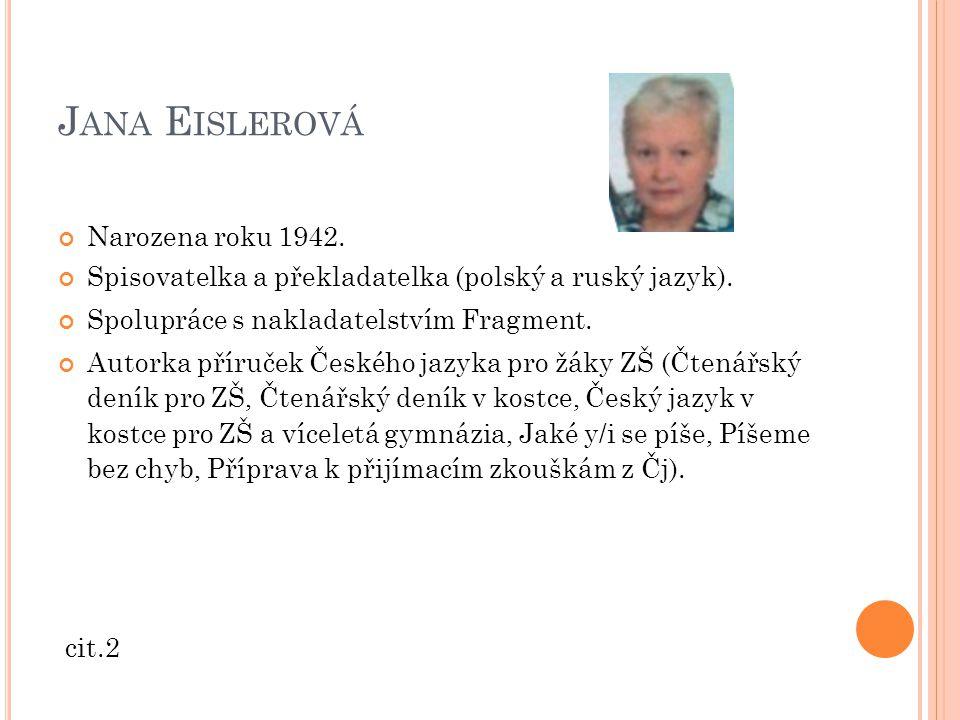 Jana Eislerová Narozena roku 1942.