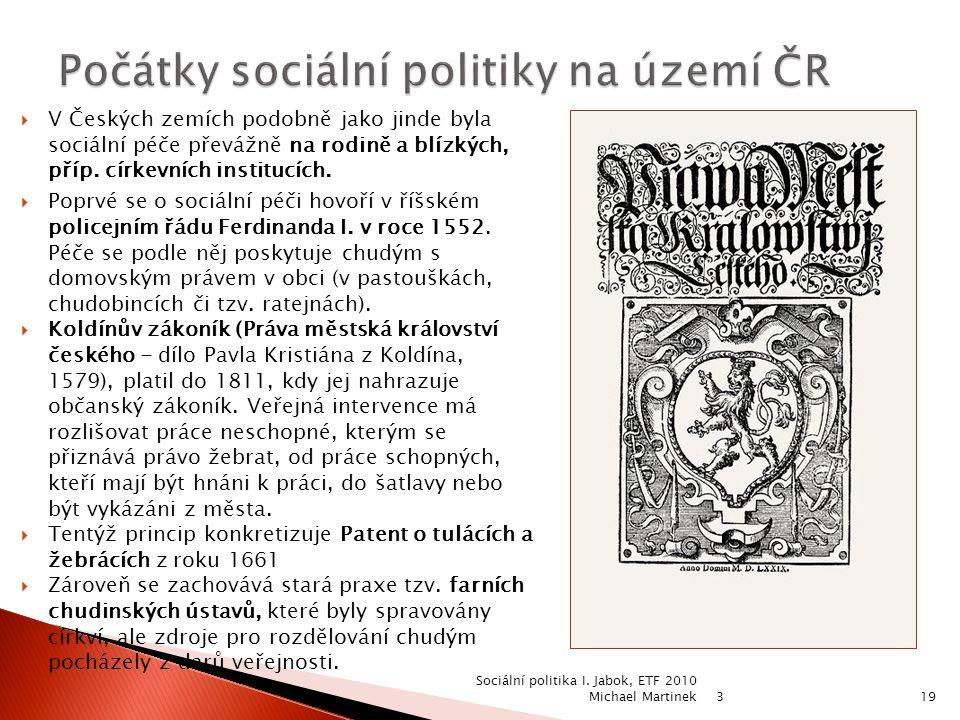 Počátky sociální politiky na území ČR