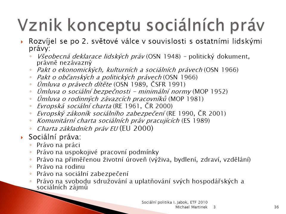 Vznik konceptu sociálních práv