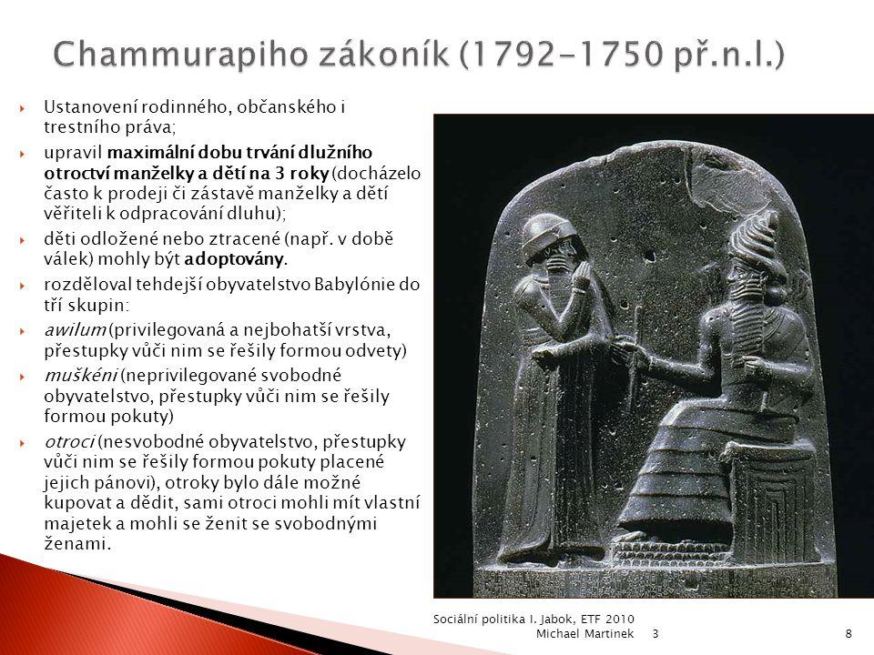 Chammurapiho zákoník (1792-1750 př.n.l.)