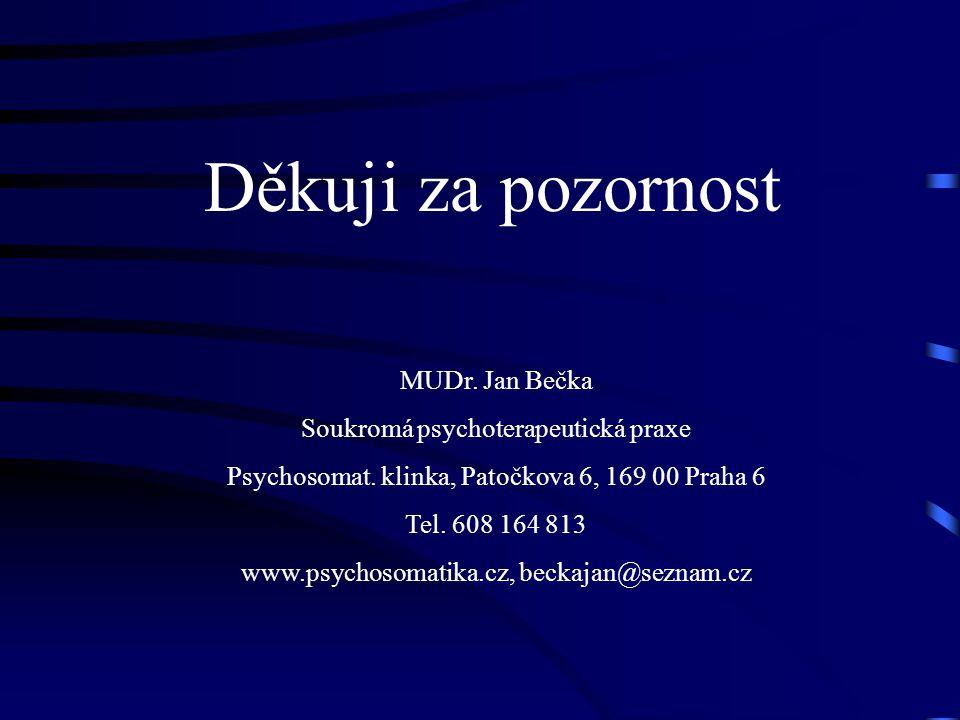 Děkuji za pozornost MUDr. Jan Bečka Soukromá psychoterapeutická praxe