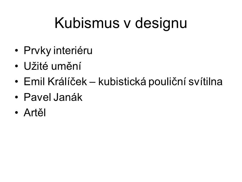 Kubismus v designu Prvky interiéru Užité umění
