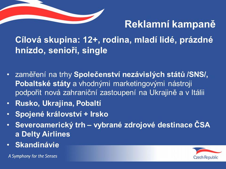 Reklamní kampaně Cílová skupina: 12+, rodina, mladí lidé, prázdné hnízdo, senioři, single.