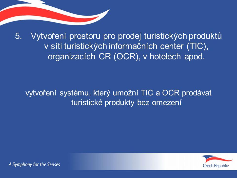 Vytvoření prostoru pro prodej turistických produktů v síti turistických informačních center (TIC), organizacích CR (OCR), v hotelech apod.