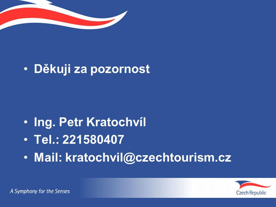 Děkuji za pozornost Ing. Petr Kratochvíl Tel.: 221580407 Mail: kratochvil@czechtourism.cz