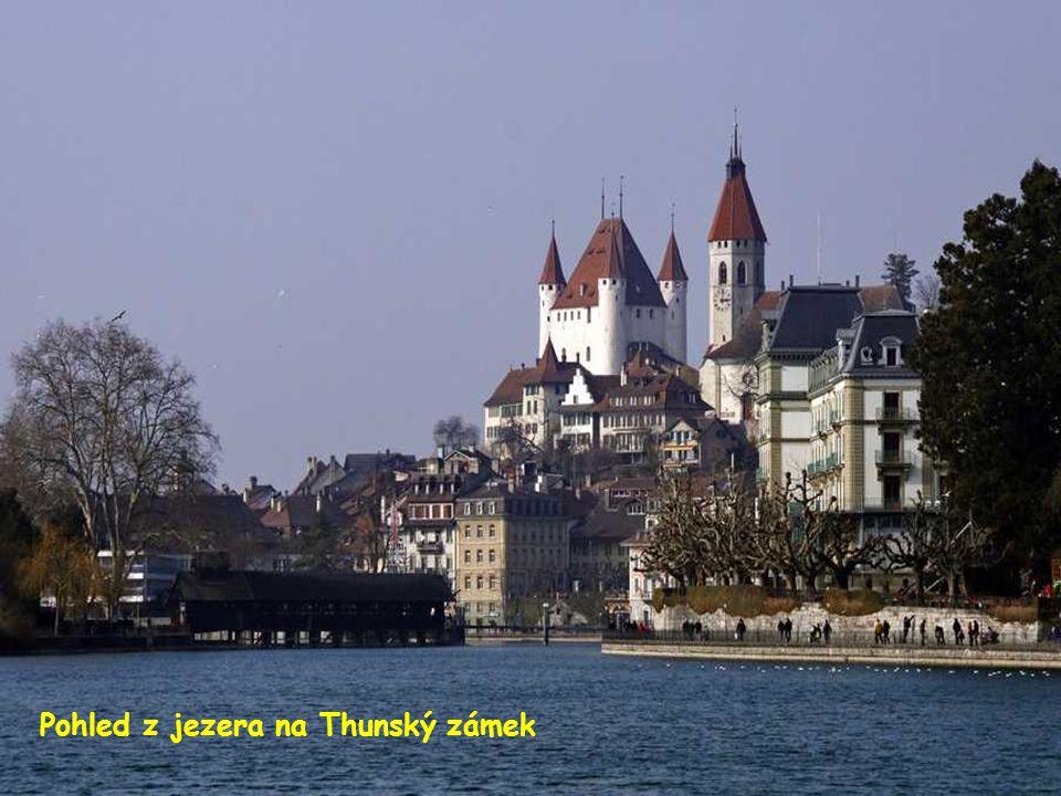 Pohled z jezera na Thunský zámek