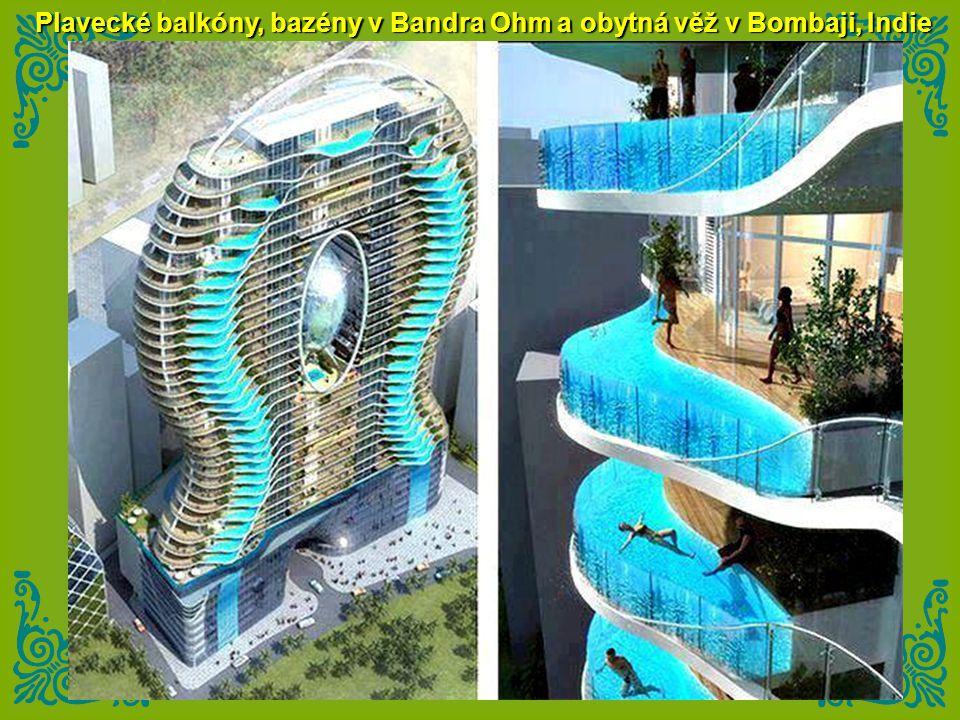 Plavecké balkóny, bazény v Bandra Ohm a obytná věž v Bombaji, Indie
