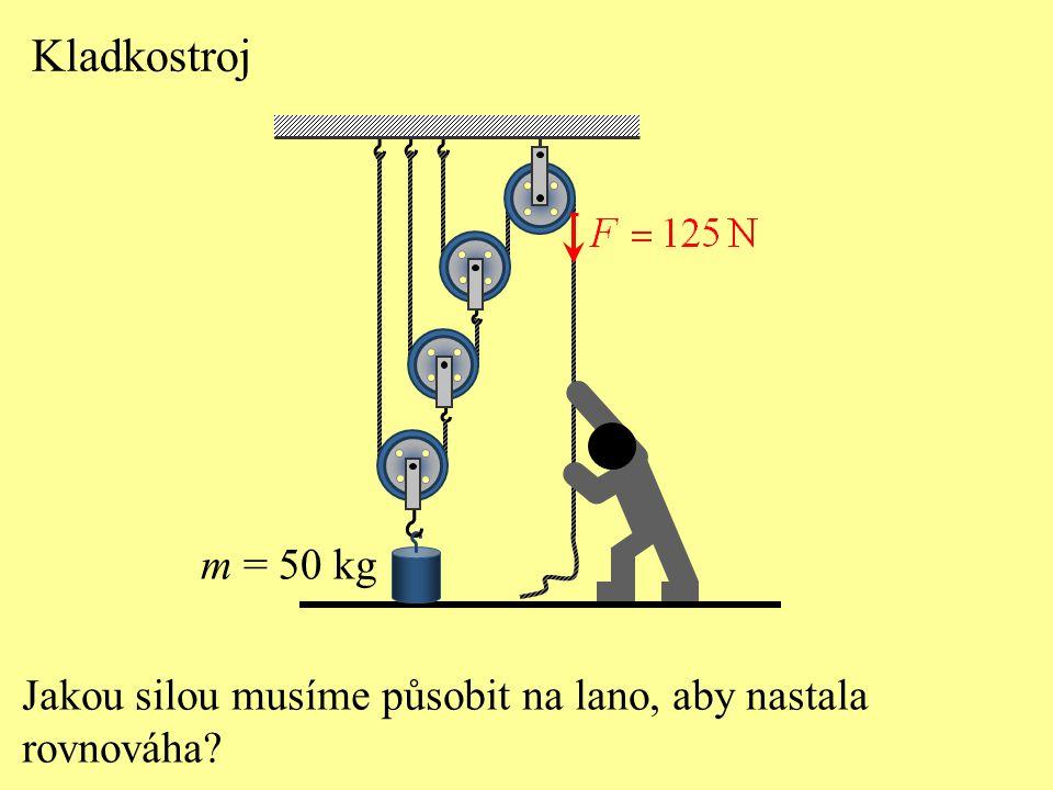 Kladkostroj m = 50 kg Jakou silou musíme působit na lano, aby nastala