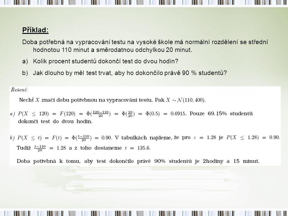 Příklad: Doba potřebná na vypracování testu na vysoké škole má normální rozdělení se střední hodnotou 110 minut a směrodatnou odchylkou 20 minut.