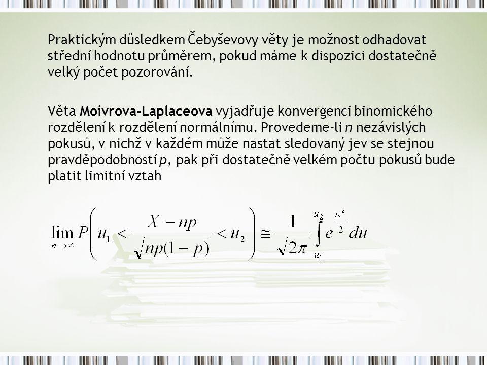 Praktickým důsledkem Čebyševovy věty je možnost odhadovat střední hodnotu průměrem, pokud máme k dispozici dostatečně velký počet pozorování.