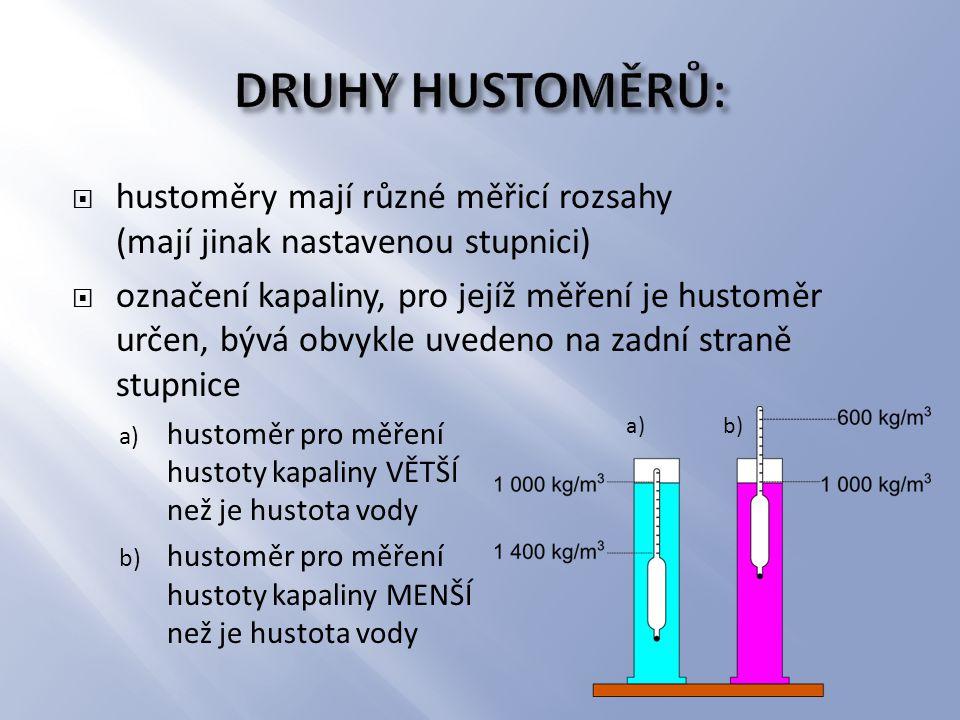 DRUHY HUSTOMĚRŮ: hustoměry mají různé měřicí rozsahy (mají jinak nastavenou stupnici)