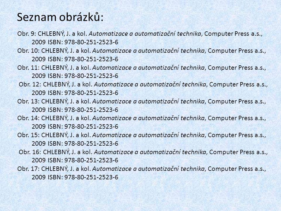 Seznam obrázků: Obr. 9: CHLEBNÝ, J. a kol. Automatizace a automatizační technika, Computer Press a.s.,