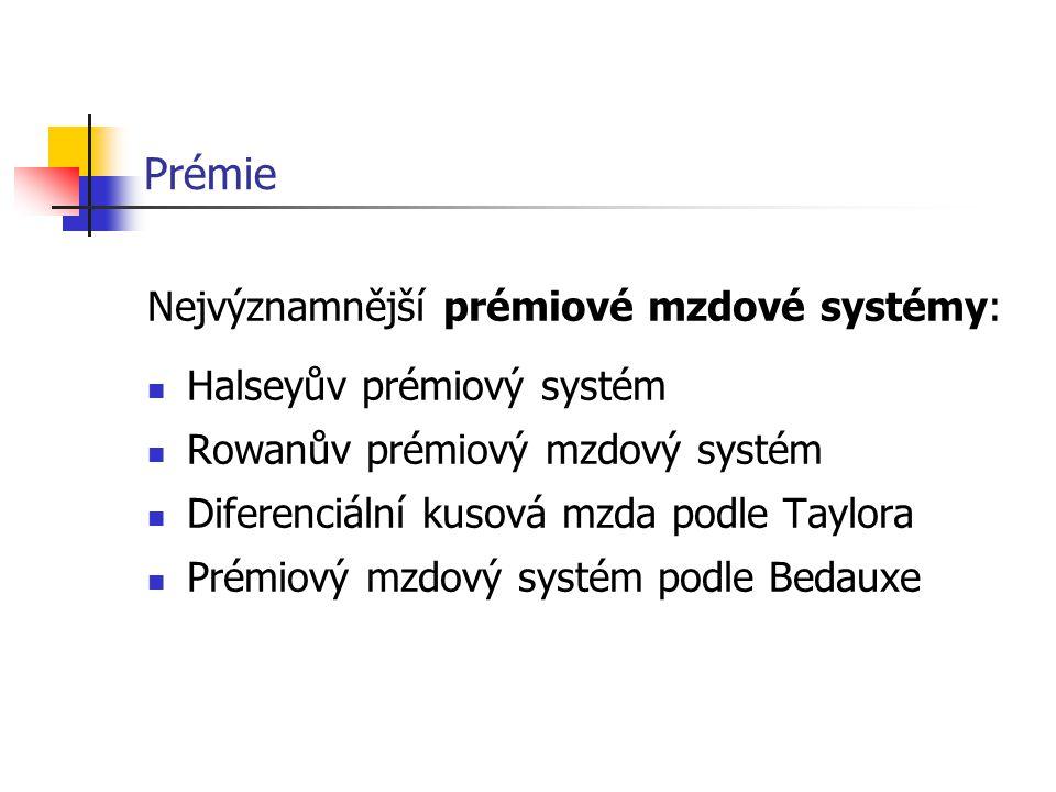 Prémie Nejvýznamnější prémiové mzdové systémy: