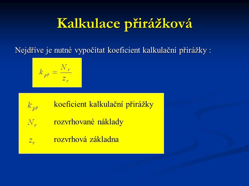 Kalkulace přirážková Nejdříve je nutné vypočítat koeficient kalkulační přirážky : koeficient kalkulační přirážky.