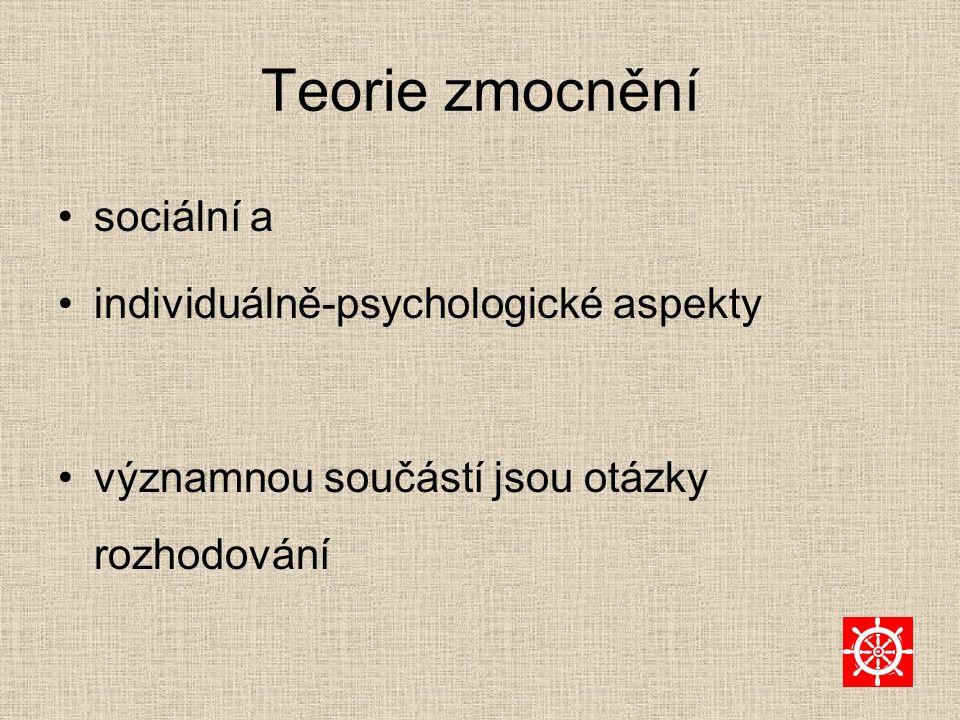 Teorie zmocnění sociální a individuálně-psychologické aspekty