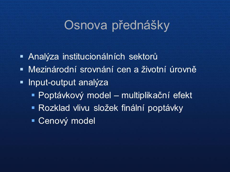 Osnova přednášky Analýza institucionálních sektorů