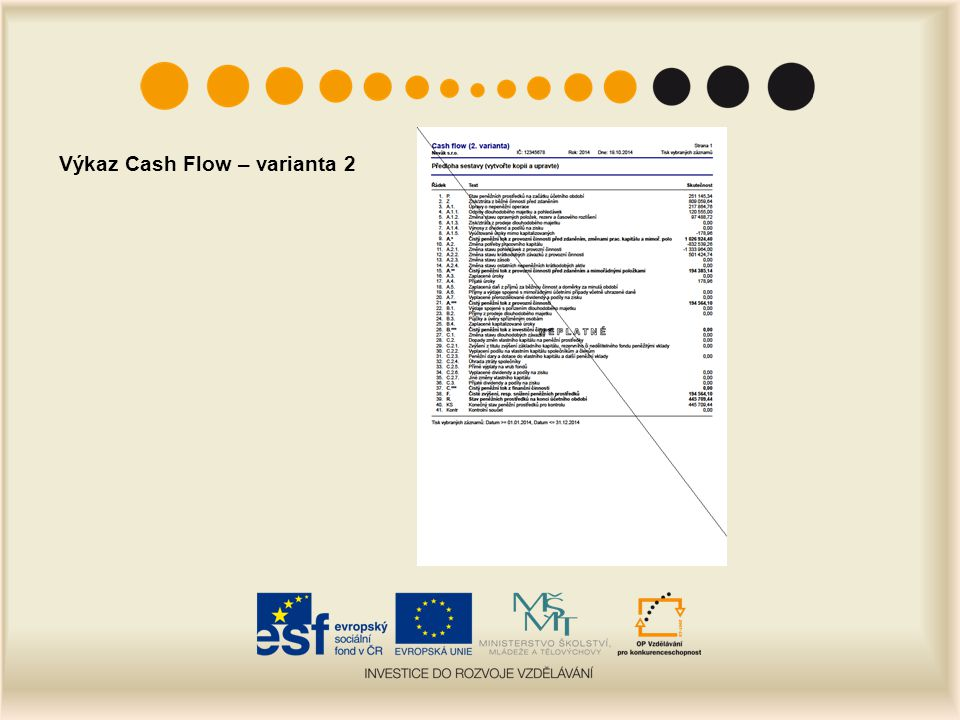 Výkaz Cash Flow – varianta 2