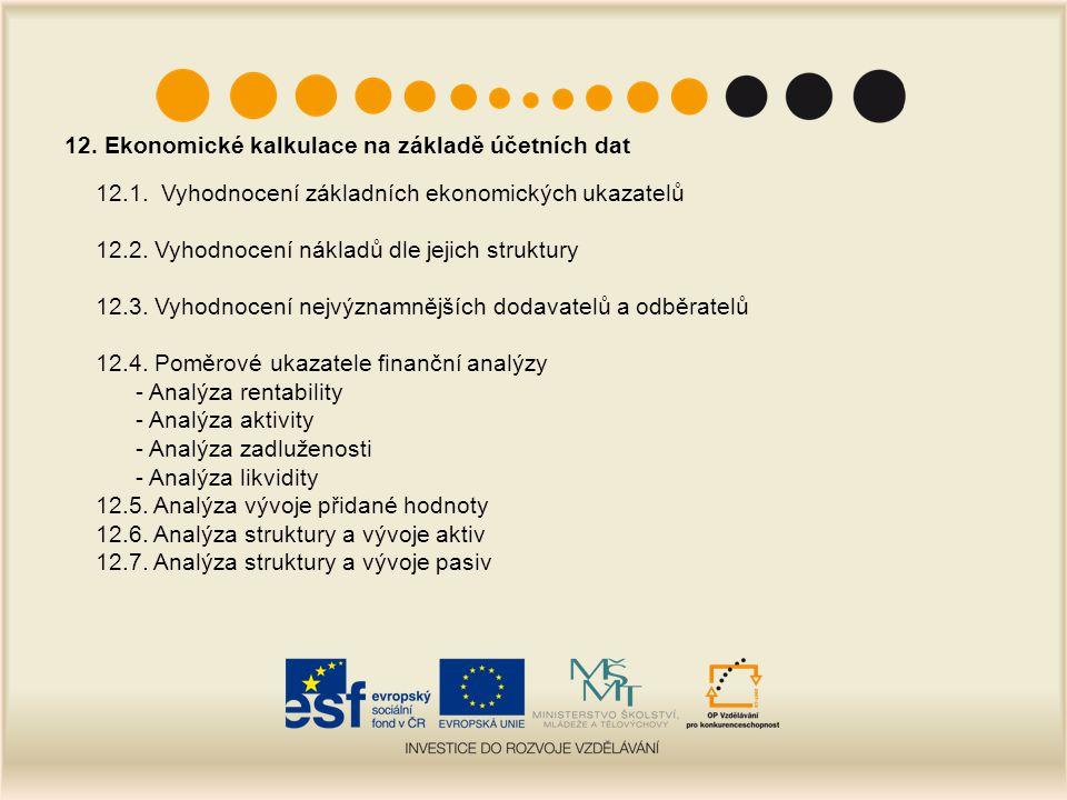 12. Ekonomické kalkulace na základě účetních dat