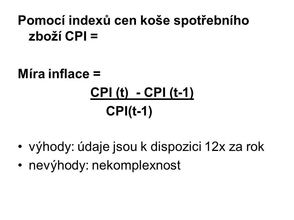 Pomocí indexů cen koše spotřebního zboží CPI =