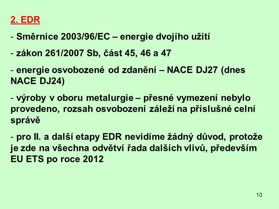 2. EDR Směrnice 2003/96/EC – energie dvojího užití. zákon 261/2007 Sb, část 45, 46 a 47. energie osvobozené od zdanění – NACE DJ27 (dnes NACE DJ24)