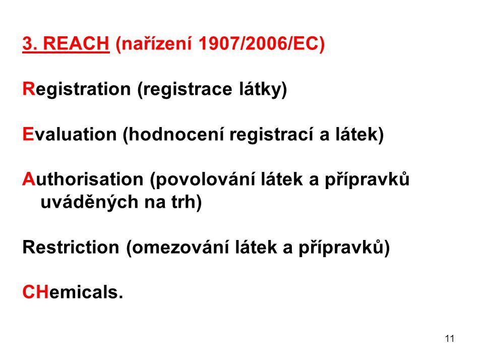 3. REACH (nařízení 1907/2006/EC) Registration (registrace látky) Evaluation (hodnocení registrací a látek)