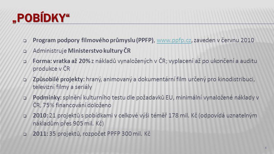 """""""Pobídky Program podpory filmového průmyslu (PPFP), www.ppfp.cz, zaveden v červnu 2010. Administruje Ministerstvo kultury ČR."""