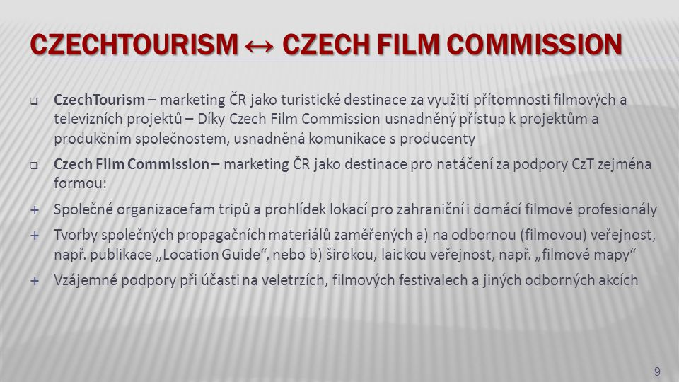 Czechtourism ↔ Czech film commission
