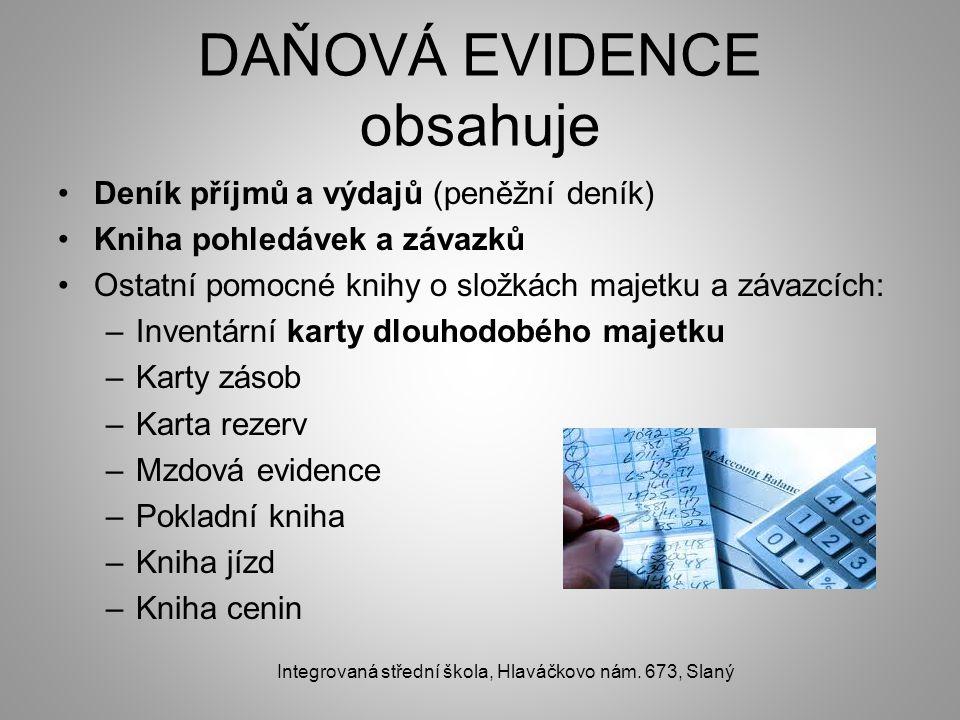 DAŇOVÁ EVIDENCE obsahuje