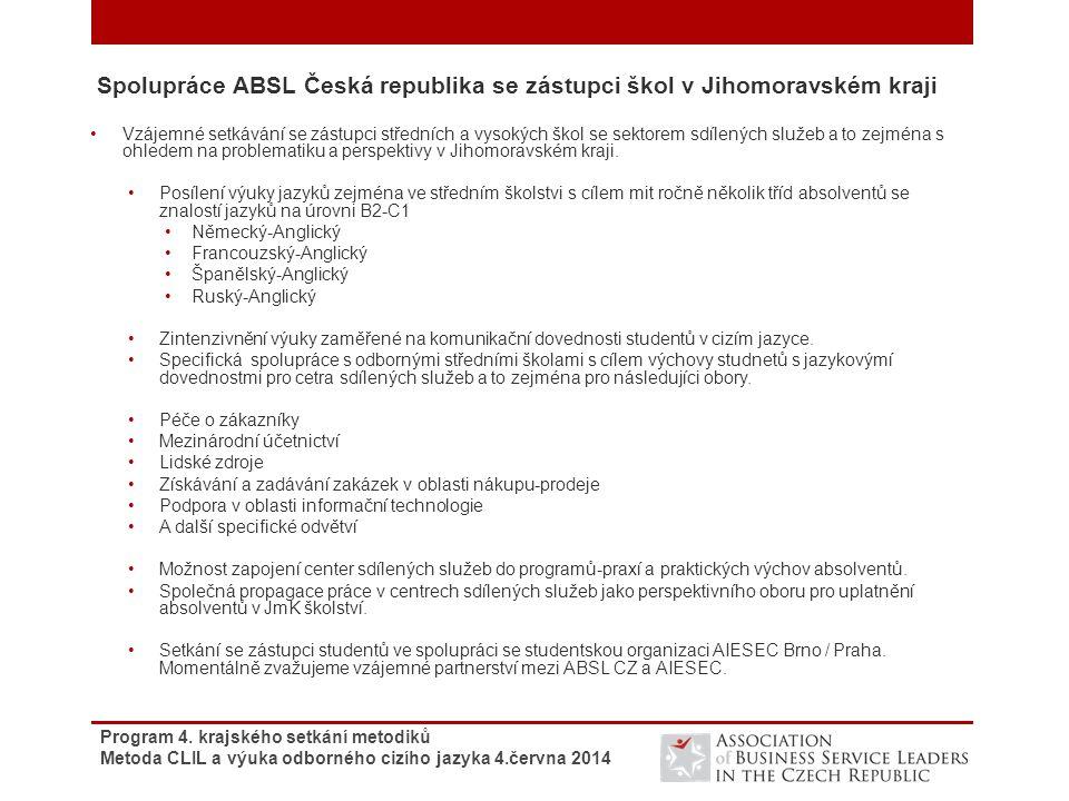 Spolupráce ABSL Česká republika se zástupci škol v Jihomoravském kraji