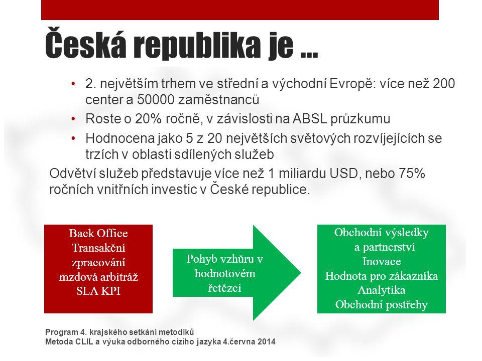 Česká republika je ... 2. největším trhem ve střední a východní Evropě: více než 200 center a 50000 zaměstnanců.