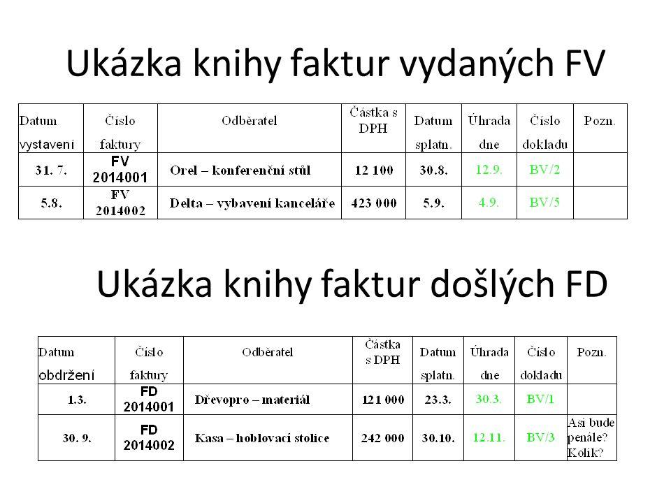 Ukázka knihy faktur vydaných FV