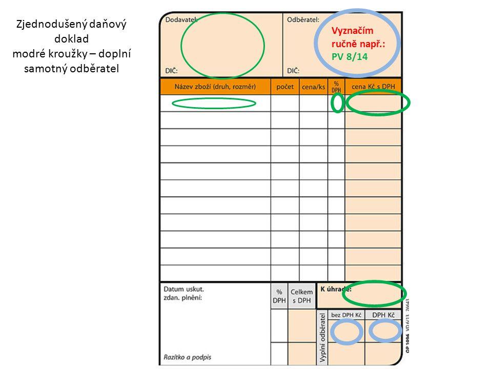 Zjednodušený daňový doklad modré kroužky – doplní samotný odběratel