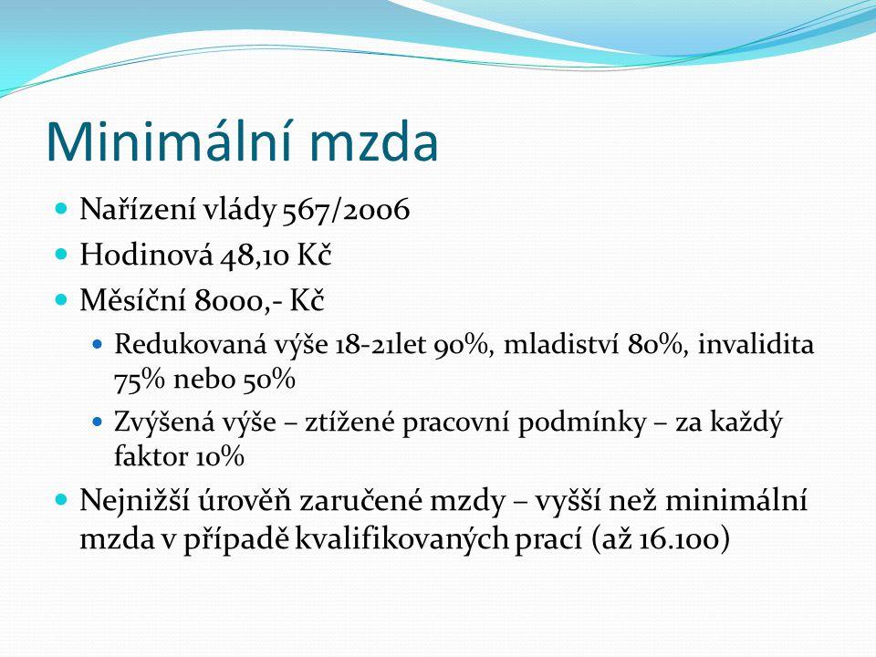 Minimální mzda Nařízení vlády 567/2006 Hodinová 48,10 Kč