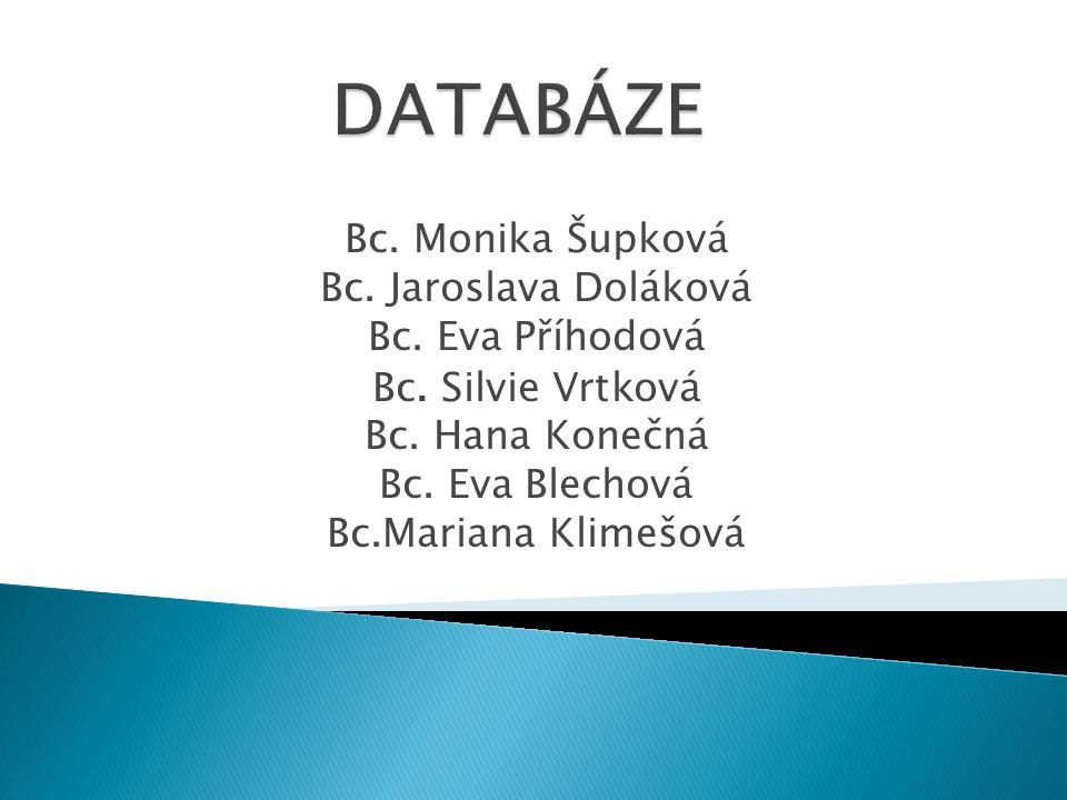 DATABÁZE Bc. Monika Šupková Bc. Jaroslava Doláková Bc. Eva Příhodová