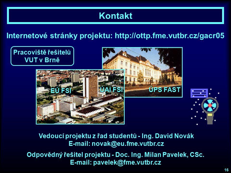 Kontakt Internetové stránky projektu: http://ottp.fme.vutbr.cz/gacr05