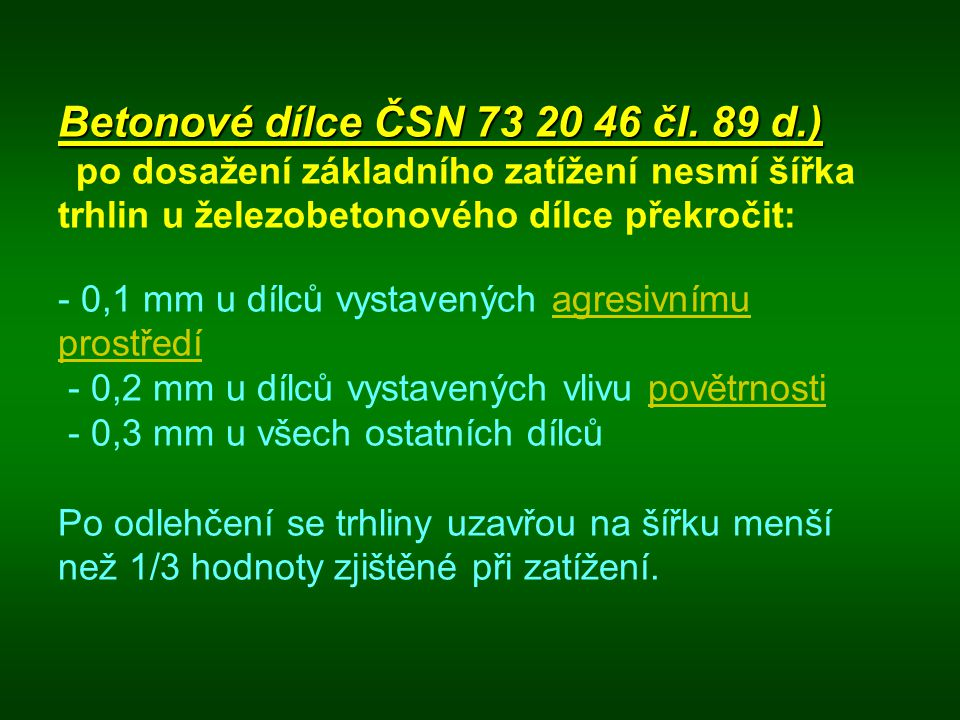 Betonové dílce ČSN 73 20 46 čl.